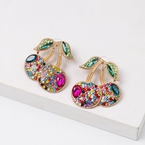Colorful drop cherry earrings